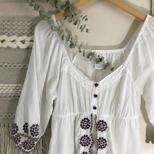 Anthropologie White and Purple Embroidered Tunic